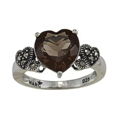 Marc Sterling Silver Smokey Quartz and Marcasite Heart Ring