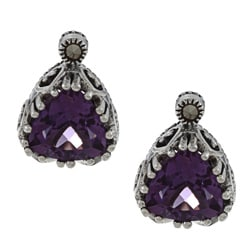 MARC Sterling Silver Amethyst and Marcasite Cut-out Heart Earrings