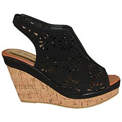 Bucco Women's Black Cutout Slingback Wedge Sandals