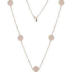 Collette Z Rose-plated Sterling Silver Clear Cubic Zirconia Filigree Lace Necklace
