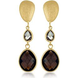 Collette Z Gold over Silver Brown/ Champagne Crystal Quartz Matte Dangle Earrings