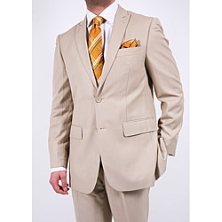 Ferrecci Men's Tan Two-button Slim-fit Suit