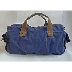 'Voyage' 20-inch Blue Washed Cotton Canvas Duffel Bag