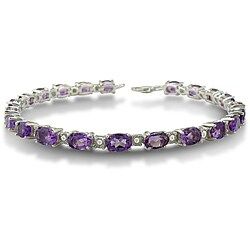 Sterling Silver Amethyst and Diamond Accent 7-inch Bracelet (10ct TGW)