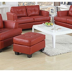 Red Bonded Leather Ottoman