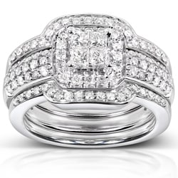 14k White Gold 3/4ct TDW Diamond 3-piece Bridal Ring Set (H-I, I1-I2)