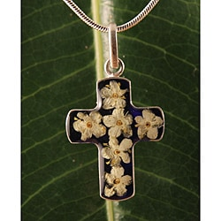 Sterling Silver Elder Flowers Bouquet Cross Necklace (Mexico)