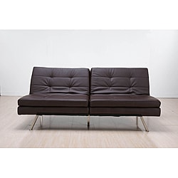 &#39;Memphis&#39; Brown Double-Cushion Futon Sofa/ Bed