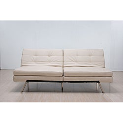 &#39;Memphis&#39; Cream Double-Cushion Futon Sofa/ Bed