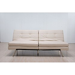 'Memphis' Cream Double-Cushion Futon Sofa/ Bed