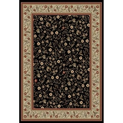 Rosa's Bouqet Black Area Rug (7'10 x 9'10)