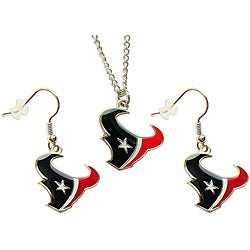 Houston Texans Necklace and Dangle Earring Charm Set NFL