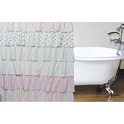 French Ruffle Pretty Pink Shower Curtain