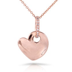 Nitez N Daze 14k Rose Gold Black and White Diamond Accent Heart Necklace