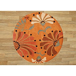 Hand-tufted Rust New Zealand Wool Blend Rug (6' Diameter)