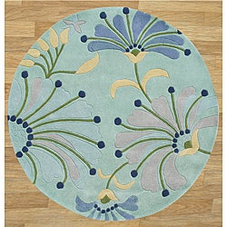 Handmade Circular Nile Blue New Zealand Blended Wool Rug (6' x 6')