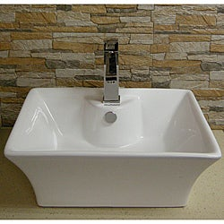 Contemporary Vitreous-China White Vessel Sink