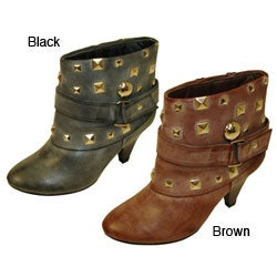 Bucco Women's Studded Faux Leather Bootie