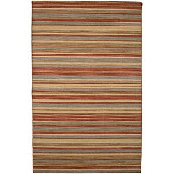 Flat Woven Red Wool Rug (10' x 14')