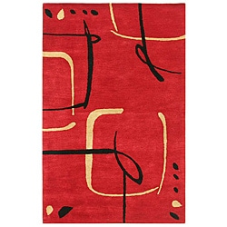 Hand-Tufted Red Wool Rug (8' x 11')
