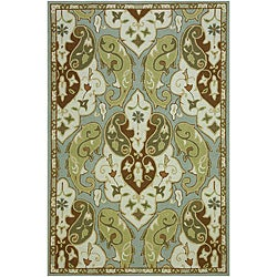 Hand-Hooked Green/ Brown Area Rug (3'6 x 5'6)