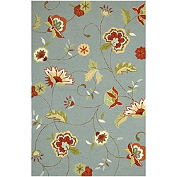 Hand-Hooked Blue/ Red Floral Area Rug (7'6 x 9'6)