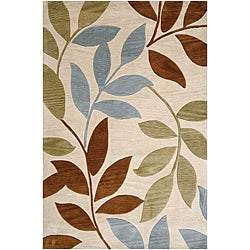 Hand-Tufted Ivory Leaf Area Rug (7'6 x 9'6)