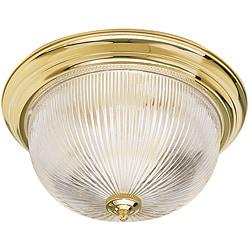 Two-Light Polished Brass Indoor Flush Mount