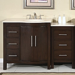 Silkroad Exclusive Stone Counter Top Bathroom Single Sink Cabinet Vanity Lavatory (54-inch)
