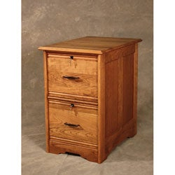 Cherry Wood Two-Drawer File Cabinet