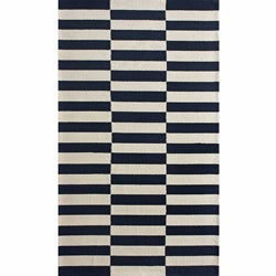 nuLOOM Handmade Stripes Navy Wool Rug (7'6 x 9'6)