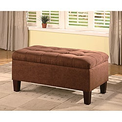 Chocolate Microfiber Tufted Storage Bench Ottoman