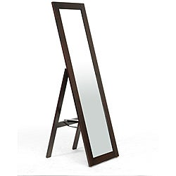Lund Dark Brown Wood Modern Mirror with Built-In Stand