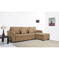 Charlotte Tan Fabric Convertible Sectional Sofa Bed