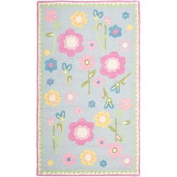 Safavieh Handmade Spring Flowers Light Blue N. Z. Wool Rug (3' x 5')