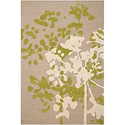 Hand-tufted Beige/ Ivory Floral Area Rug (5&#39; x 7&#39;6)