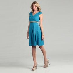tahari women's turquoise belted pleated skirt dress