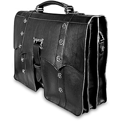 Zeyner Vachetta Black Leather Laptop Briefcase
