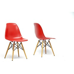 Azzo Red Plastic Mid-Century Modern Shell Chair (Set of 2)