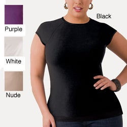 Illusion Women's Plus Size Microfiber Cap-sleeve Tee