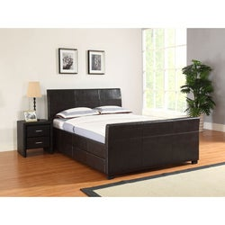 Quad Brown Faux Leather Storage Queen-size Bed