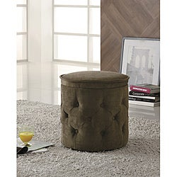 Tufted Fabric Coffee Round Storage Ottoman