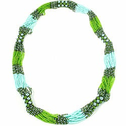 'Zul' Green Glass Bead Necklace (Guatemala)