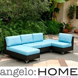 angelo:HOME Napa Springs Ocean Blue 4 Piece Indoor/Outdoor Wicker Sectional Set