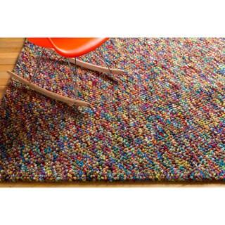 Hand-woven Tanitic Multi Color Burgundy Plush Shag Rug (5' x 8')