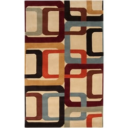 Hand-tufted Contemporary Multi Colored Square Meath Wool Geometric Rug (12' X 15')