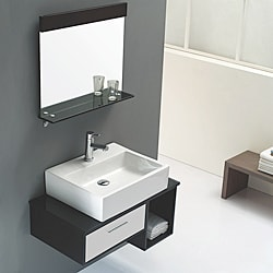 Solid Oak Black and White 31-inch Ceramic Bathroom Vanity