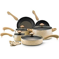 Paula Deen Porcelain Nonstick Oatmeal Speckle 15-piece Cookware Set