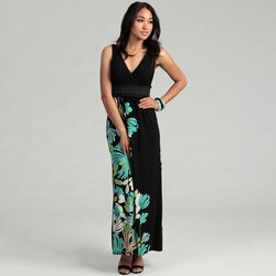 London Times Women's Black/ Aqua Floral Maxi Dress