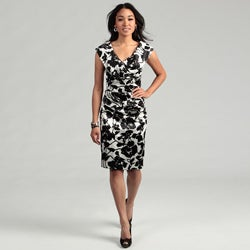 London Times Woman's Criss Cross Cap-sleeve Fitted Dress
